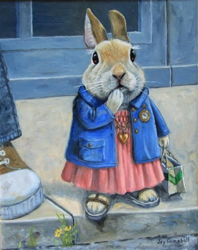 """Another Bunny Waits for the Bus"" - Original Fine Art for Sale - © Joy Campbell"