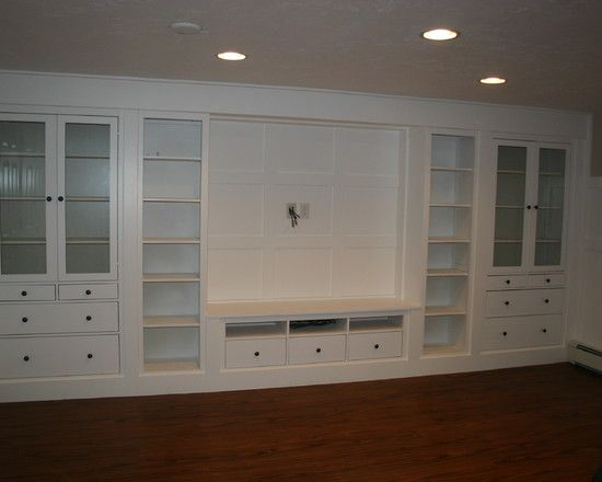 built ins from IKEA hemnes: along back a basement wall?