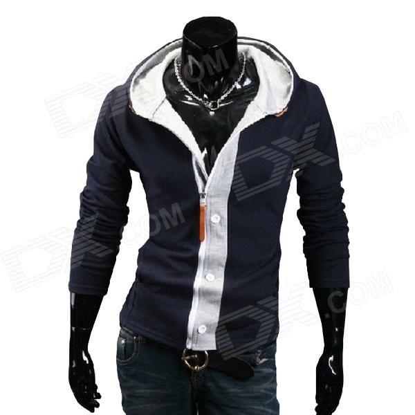 Fashionable Men's Leisure Slim Fit Spell Color Hooded Cardigan Fleece #hoodedFleece