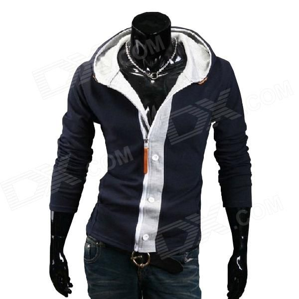 Fashionable Men's Leisure Slim Fit Spell Color Hooded Cardigan Fleece #hoodedFleece