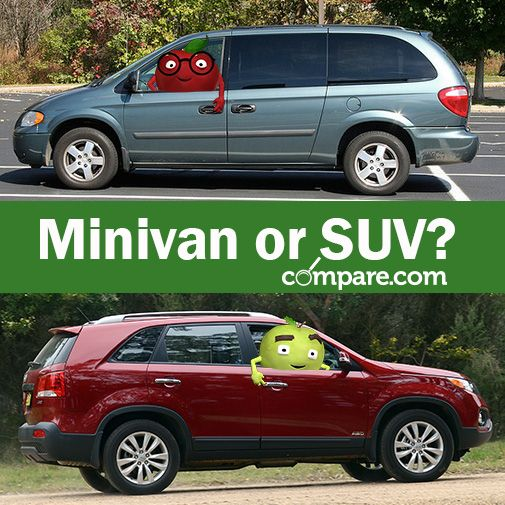 """Isaac and I were just chatting about this article we found on compare.com, """"Minivan vs. SUV."""" I'm totally team #SUV and Isaac Red is 100% #minivan. Which side are you on?"""