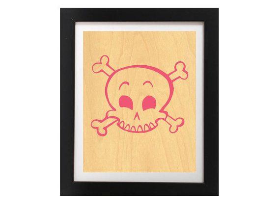 Pink Skull Art Print  Cute Pink Skull by TheWoodPaperShoppe