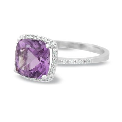 Cushion-Cut Amethyst Ring in 14K White Gold with Diamond Accents - Zales
