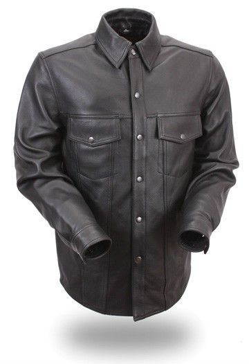 Mens Leather Shirt Soft Lambskin Leather  Shirt FMC FIM-403-ES #FMC #SnapFront