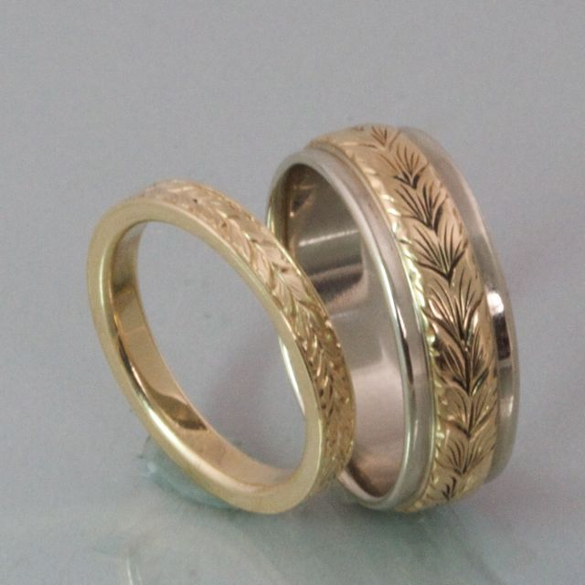 Stunning Wedding Band Engraved Patterns Modern Heirloom Hers Wedding Bands mm