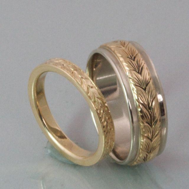 wedding band engraved patterns modern heirloom hers wedding bands 2mm - Engraved Wedding Rings