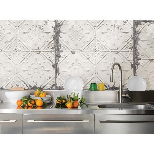 Nuwallpaper Vintage Tin Tile Peel And Stick Wallpaper Sample Nu2086sam The Home Kitchen Backsplash Peel And Stick Vintage Tin Tiles Trendy Kitchen Backsplash