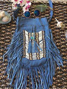 Genuine Leather Fringe Bag Denim Blue   | eBay