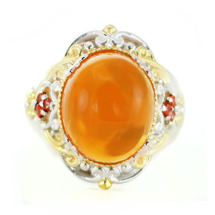 One-of-a-kind Michael Valitutti Fire Opal and Saphire Ring, Women's