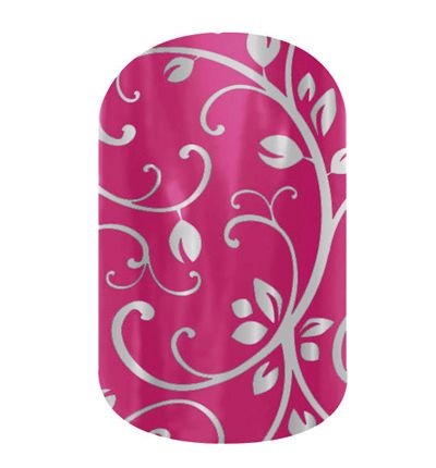 Silver Floral on Magenta  nail wraps by Jamberry Nails