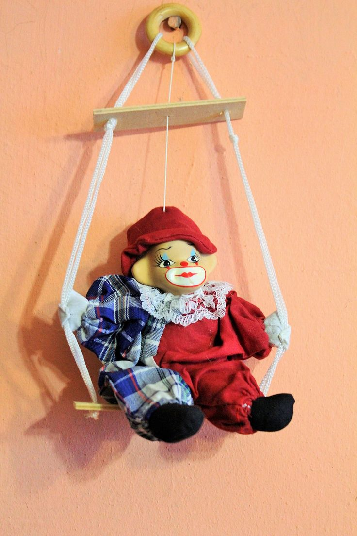Vintage Porcelain Clown On Swing, Blue Red Clown Doll, Soft Plush Body, Hand Painted Face, Collectible Clown Home Decor by Grandchildattic on Etsy