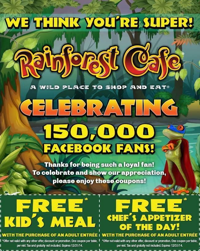 Coupons rainforest cafe london