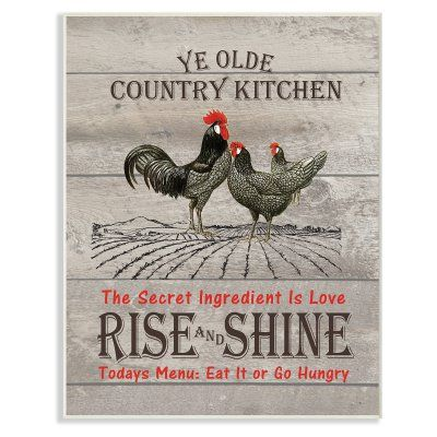 Stupell Decor Old Country Kitchen Rise Shine Wall Plaque Art Kwp 1032 Wd 10x15