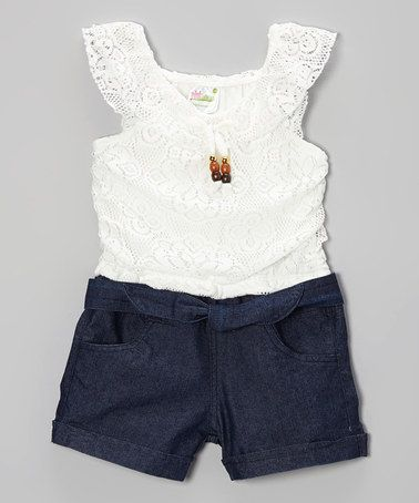 Love this White Lace & Denim Romper - Infant, Toddler & Girls on #zulily! #zulilyfinds