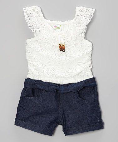 Love this White Lace & Denim Romper - Infant, Toddler & Girls on #zulily! #zulilyfinds