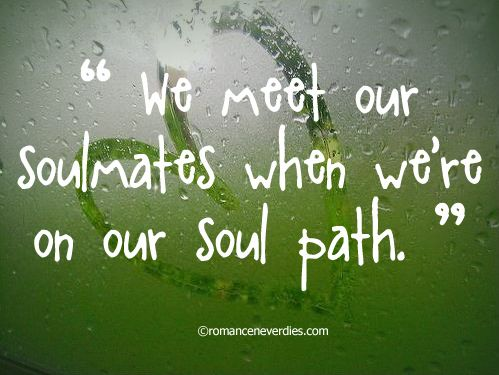 """""""We meet our soulmates when we're on our soul path."""""""