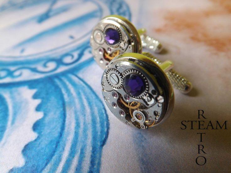 Uomini Steampunk Gemelli in viola velluto 16 millimetri : Bijoux per uomo di steamretro-italia