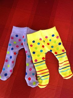 how to make doll tights from a pair of adult knee socks | free instructions @ the hungry bookworm