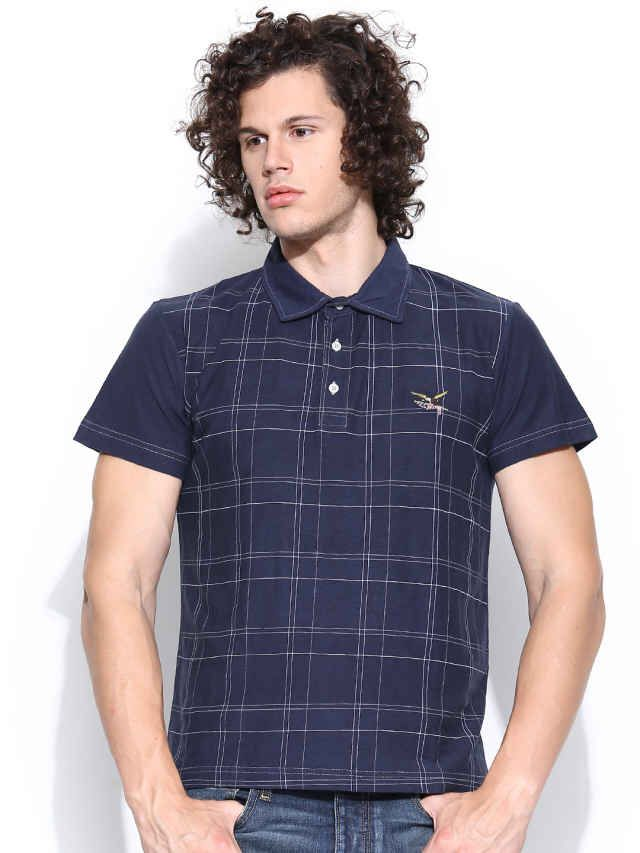 Dream of Glory Inc. Navy Checked Polo T-shirt