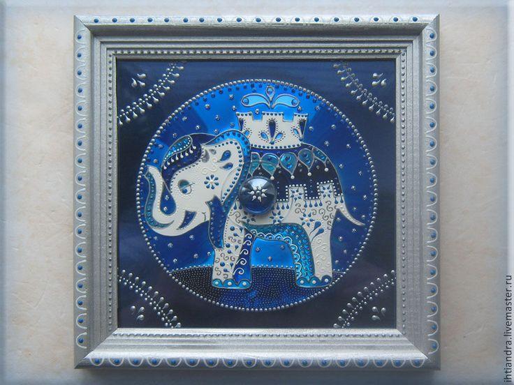 Купить Слон Панно с витражной росписью на диске - Витражная роспись, витражное панно, витражная картина