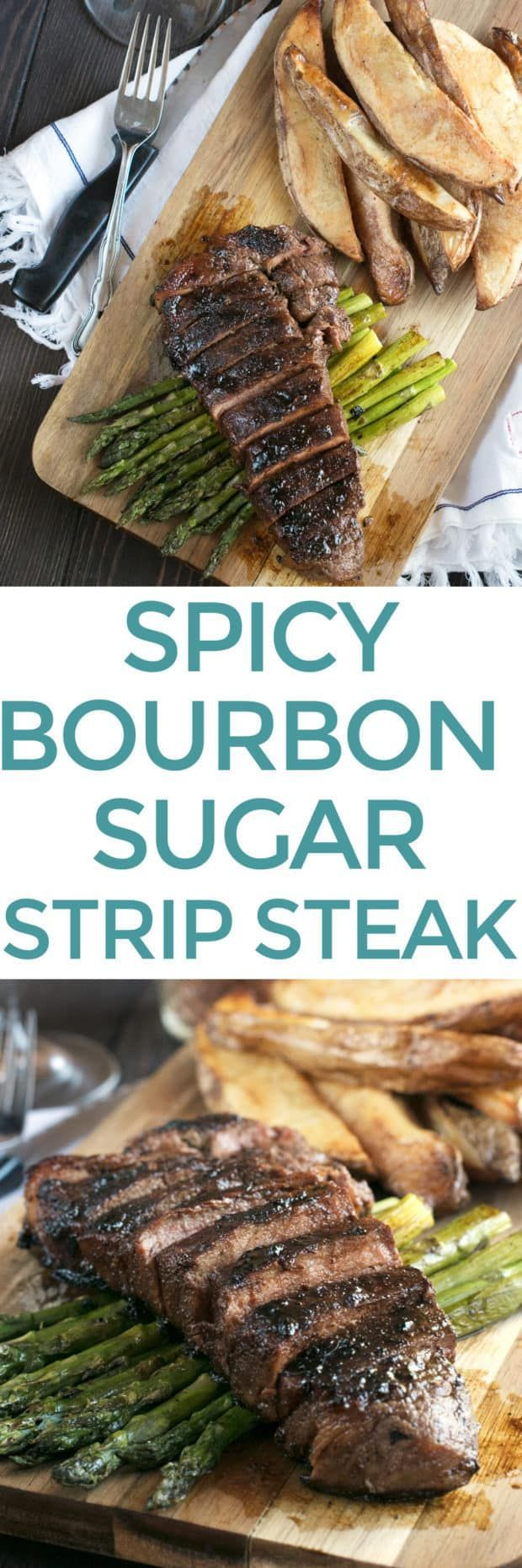 Spicy Bourbon Sugar Rubbed Strip Steak is what's for dinner tonight! Homemade bourbon sugar gets added to a spicy rub mixture that forms a delicious crust on the outside of the strip steak. The sweet heat and juicy meat will take your steak game to the next level! Spicy Bourbon Sugar Rubbed Strip Steak | cakenknife.com #dinner #recipe #steak
