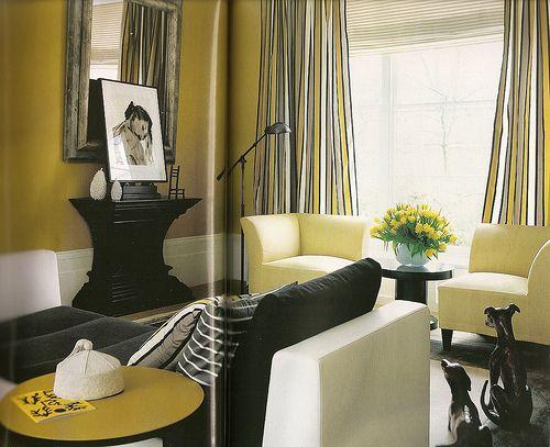 Decoração - combinar amarelo com outras cores: branco, preto e cinzento        Esse é um preconceito que pretendemos desmistificar aqui, uma vez que em tons mais ou menos intensos o amarel