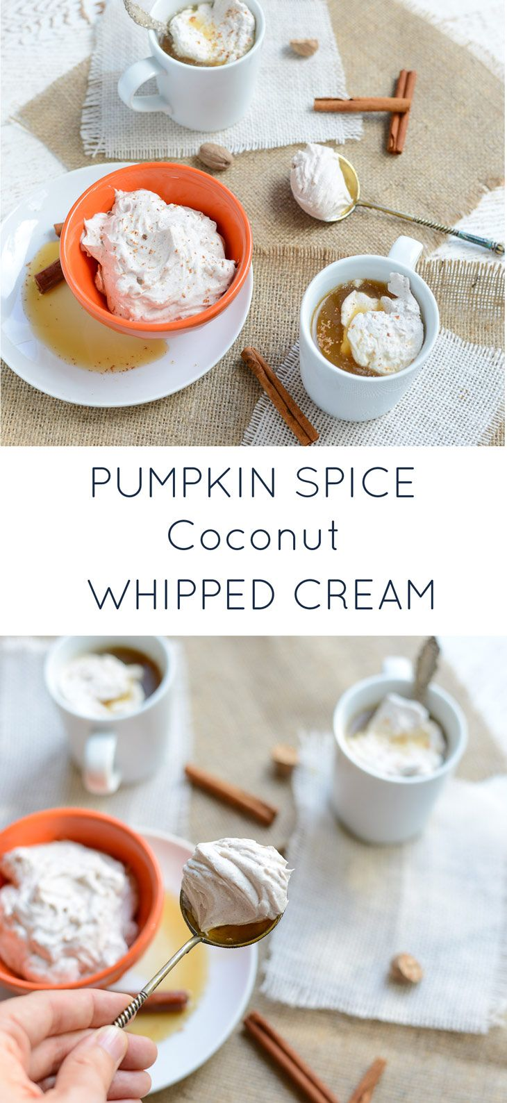 This Pumpkin Spice Coconut Whipped Cream is easy to make at home and is out-of-this-world delicious. It's also naturally dairy-free, refined sugar-free and perfect stirred into coffee, hot coco, warm apple cider, on top of pancakes, or on it's own directly out of the bowl! realfoodwholelife.com