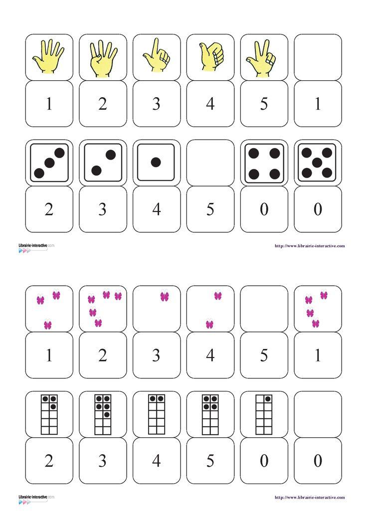Un petit jeu de dominos pour découvrir les chiffres de 0 à 5 et les différentes écritures.