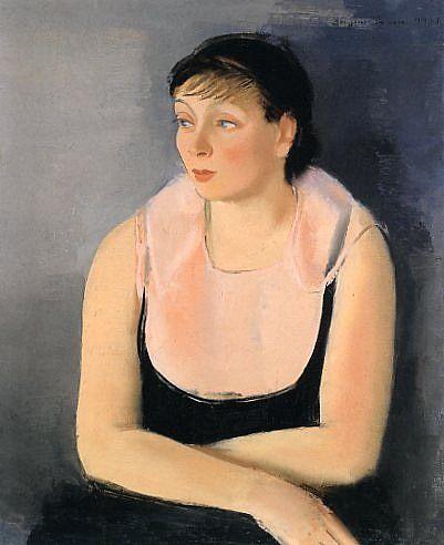 Dame in Schwarz mit rosa Tuch, 1931 by Sergius Pauser (Austrian 1896-1970) Öl auf Leinwand,