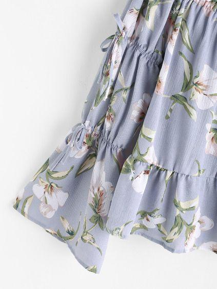 Boat Neck Floral Print Frilled Hem Bow Tie Sleeve Blouse