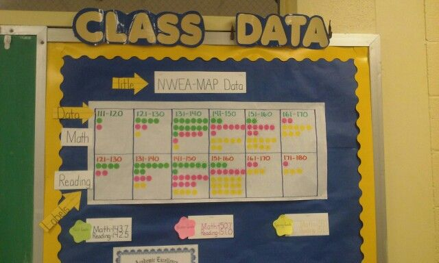Kindergarten NWEA data wall (Spring)
