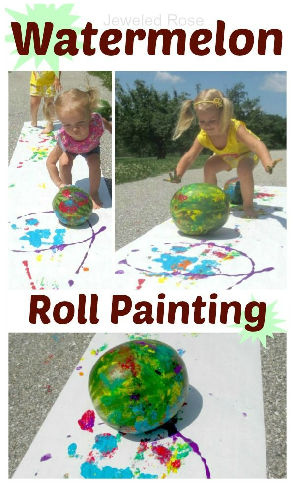 Watermelon roll painting - a fun way to use those melons and create art this Summer!