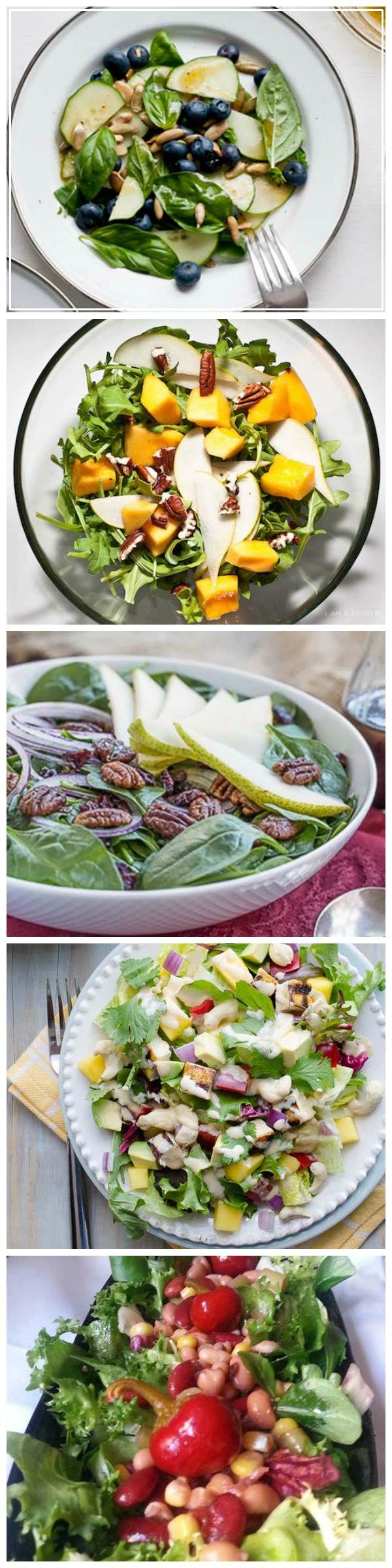 We found 7 amazing salads for 7 days of the week, each from a different great blogger. From Thai cashew chicken mango, to avocado and heirloom tomato, they have the whole week covered with these healthy, fresh recipes. Yum!