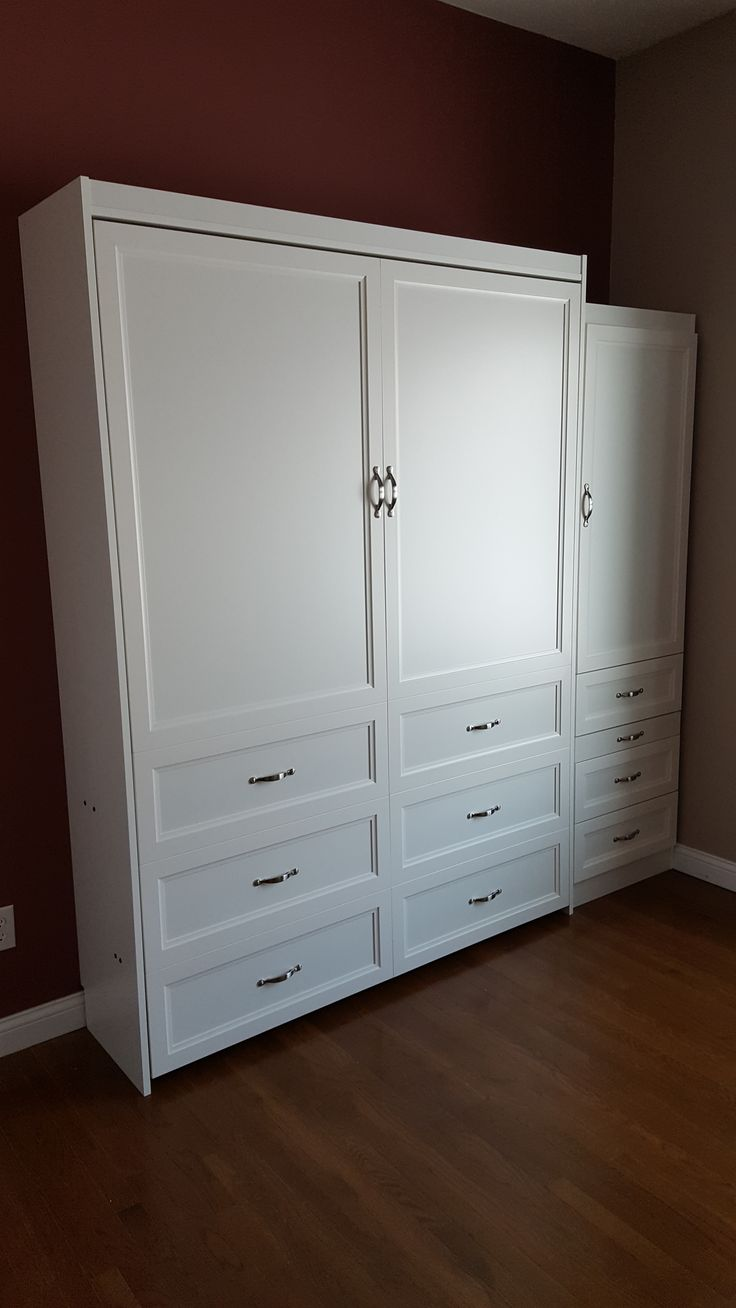 Our customer chose the BedderWay Vertical Queen Melamine Dresser Cabinet Face Murphy bed in Classic White with brushed chrome contemporary handles along with a side cabinet.