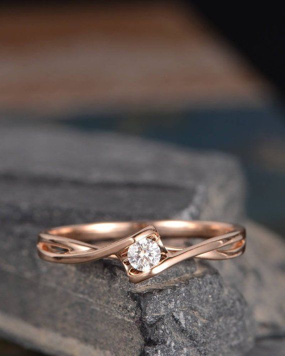 Rose Gold Diamond Engagement Ring Solitaire Infinity Curved Cross Band Anniversary Promise Ring Eternity Women Bridal Solid 14K Simple – Petra Baumann