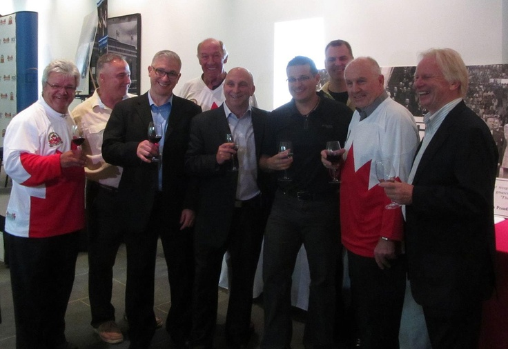 Drinking wine and celebrating with some of the Team Canada '72 on their 40th Anniversary