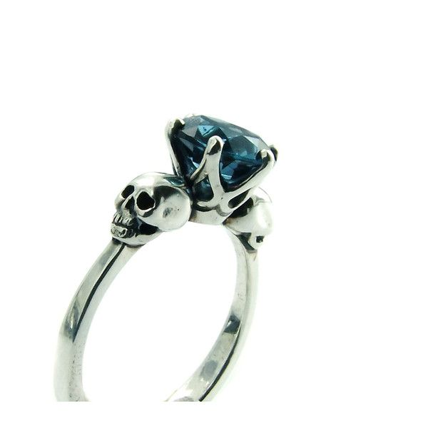 Skull Engagement Ring Blue Topaz Sterling Silver Skull Ring Goth Jewel... (£220) ❤ liked on Polyvore featuring jewelry, rings, blue wedding rings, gemstone rings, skull engagement ring, gemstone engagement rings and blue topaz ring