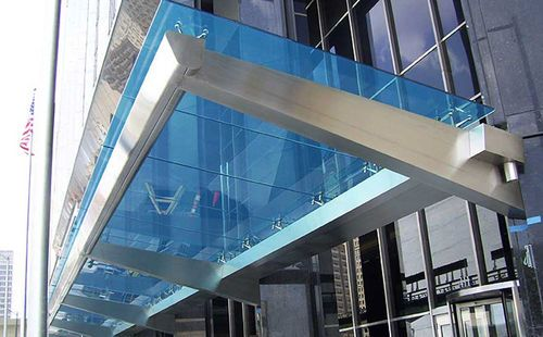 Stainless Steel Entrance Canopy Glass Cover Couturier