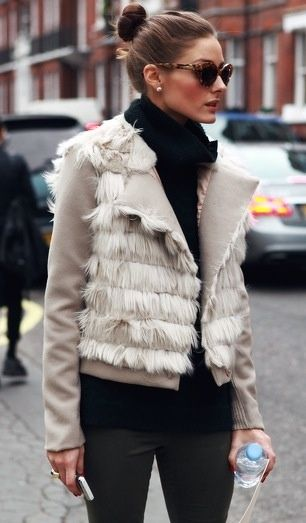 Olivia Palermo A new way to redesign the old fur lined gilet!