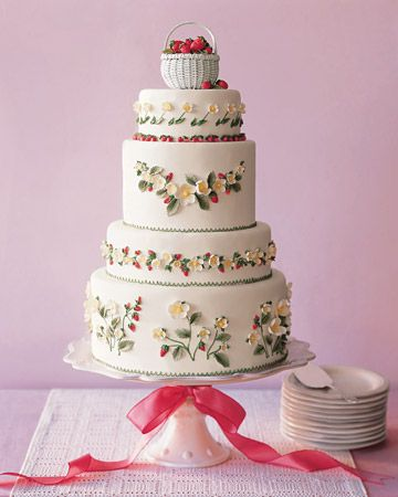 Love, love this cake so much!Cake Recipe, Fun Recipe, Butter Cake, Yellow Cake, White Wedding Cake, Floral Wedding Cake, Strawberries Cake, Martha Stewart, Strawberries Fields
