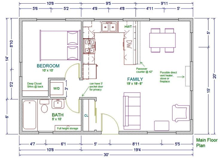 20x30 single story floor plan One bedroom small house plan Move