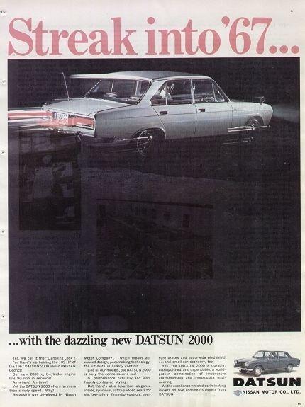 images japanese car ads | ... Datsun 2000 Sedan 1967 Vintage Japanese Car Ad Streak Into '67 | eBay