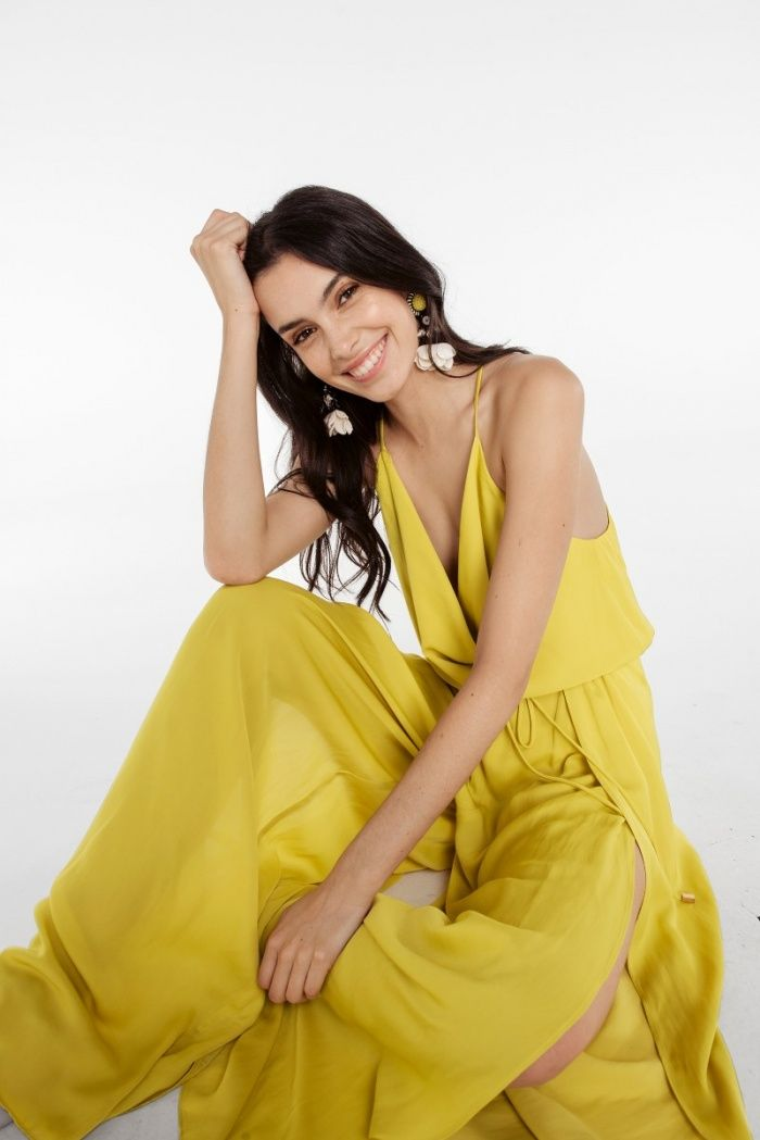 616db9540d34 Relaxed fit jumpsuit in Mustard featuring a cowl neck and layered detail  that ties at the