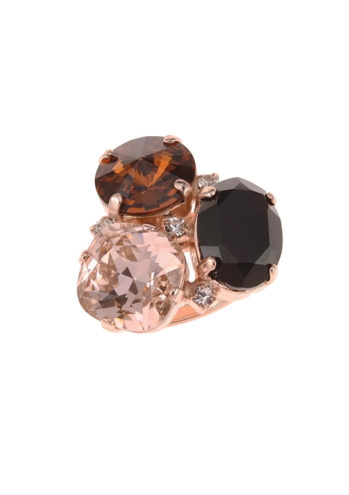 ba50b6c81 Betty Ring Nude Brown color Swarovski crystals rose gold Rebekah price  jewelry