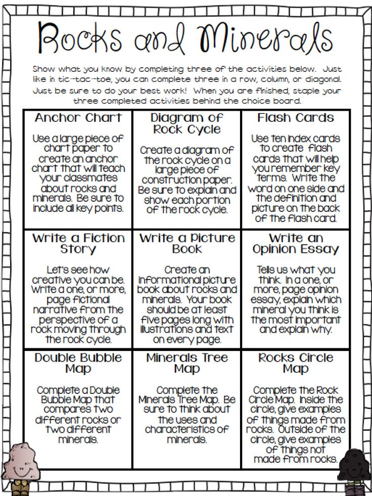 FREE Rocks and Minerals Choice Board. Required printables included!