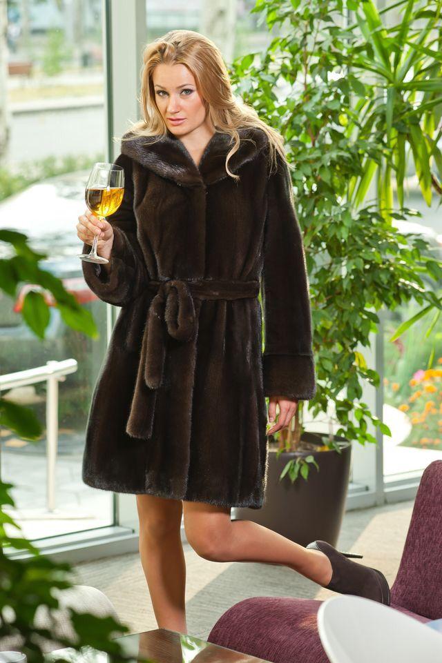 Mahogany Mink Fur Hooded & Belted Coat