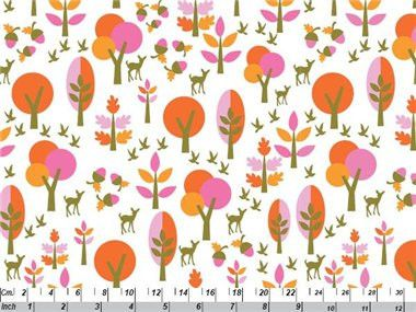 Bambi Forest - Pink and orange organic cotton fabric by Copenhagen Print Factory. $4.75 #organicfabric #copenhagenprintfactory