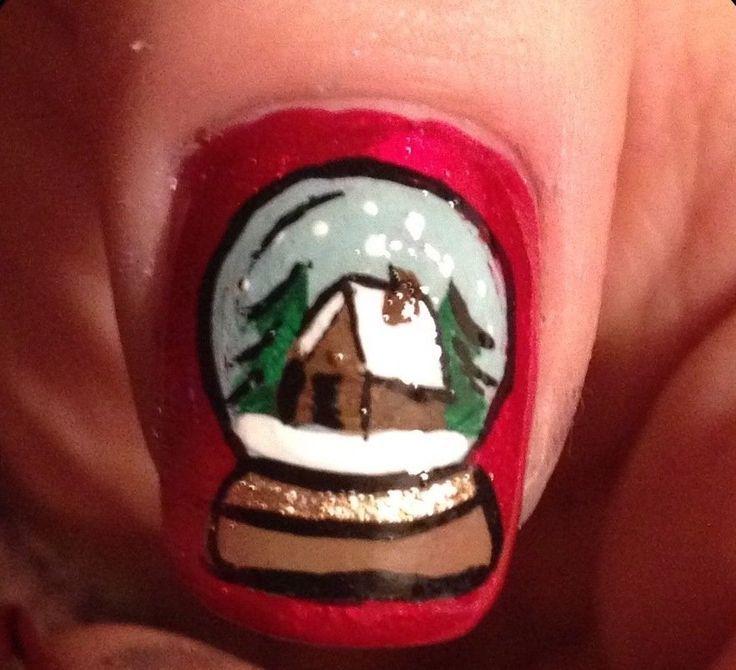 Snow Globe Nails - Winter Christmas Nail Art