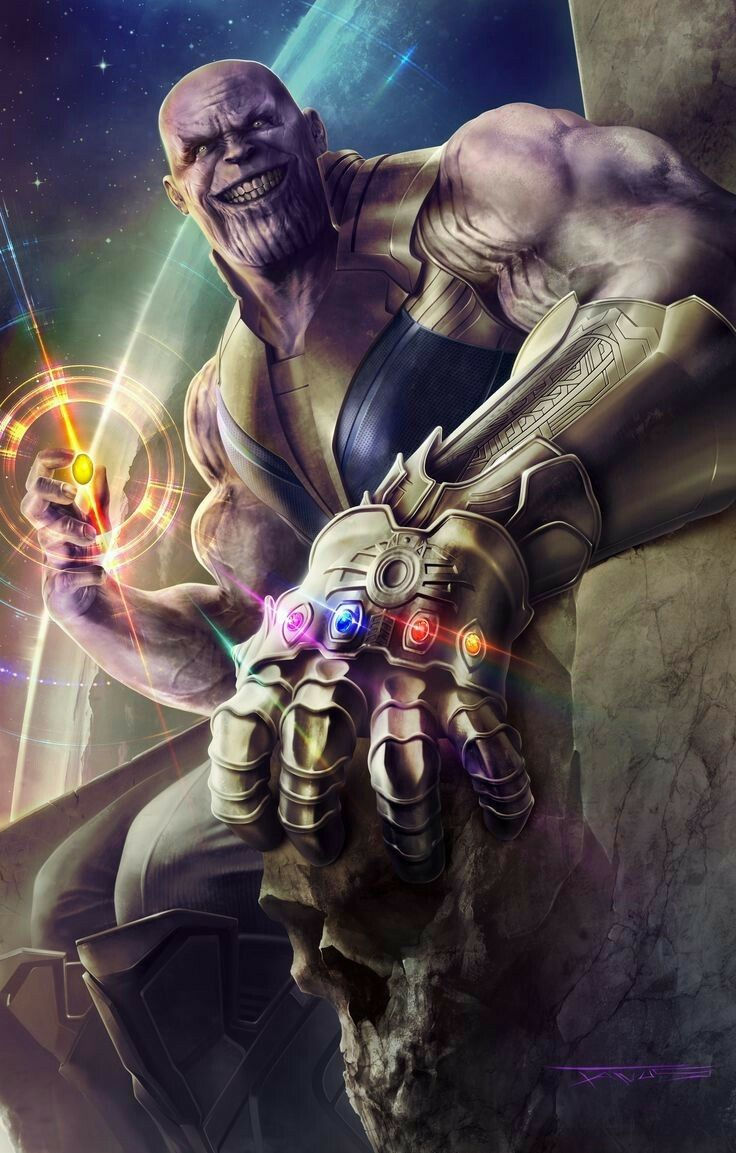 "Thanos Here is the Art of the Day Fact ~ THANOS' Name is Adopted From the Word ""THANATOS,"" Means The Death Urge in In Greek Mythology We will post one fan-art and a little know fact related to that art everyday ! Credits to the Artist !"