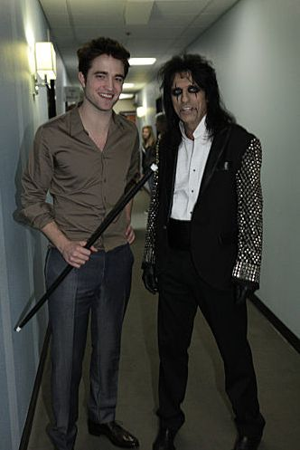 Backstage at Jay Leno. Rob was proud of that cane.  :)